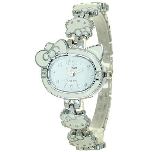 (Fashion Women Ladies Rhinestone Crystal Kitty Chain Bracelet Kitty Shape Case Dial Analog Quartz Wrist Watch Elegant Silver Alloy Watches)