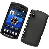 TOOGOO Black Hard Plastic Rubberized Case Cover for Sony Ericsson Xperia Play