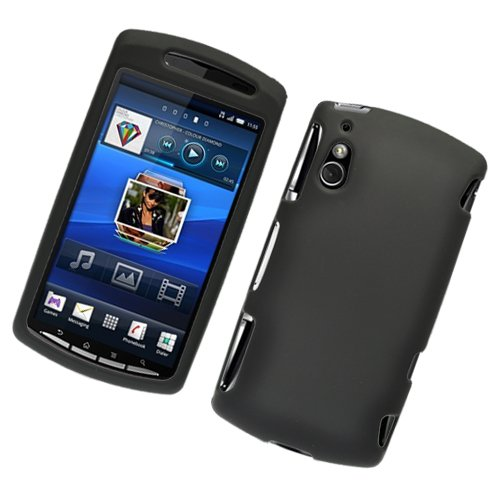 hot sale online 48dec 0b82f Black Hard Plastic Rubberized Case Cover for Sony Ericsson Xperia Play