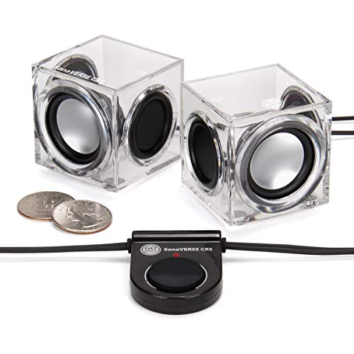 GOgroove SonaVERSE CRS Clear Cube USB Powered Wired PC Speakers with 2.0 Stereo AUX 3.5mm Input, Dual Passive Woofers, 6W Output, Mini Ice Block Acrylic Design for Laptops, Office, Industrial Décor