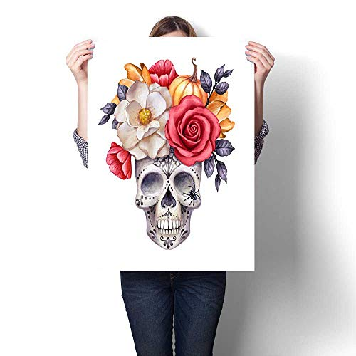 Hanging painting watercolor illustration Halloween floral skull fall flowers autumn pumpkin dia de los muertos festive clip art isolated on white background Ready to Hang for Home Decorations Wall De ()
