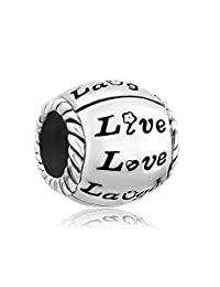 Live Love Laugh Flower Charms Jewelry Cheap Silver Plated Bead Fit Pandora Chamilia Charm Bracelet