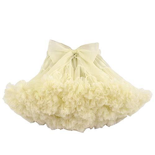 CHAOSHUO Tulle Pettiskirt Toddler Kid Girls Ballet Tutu Dress Princess Birthday Party (1T-12Y)(Beige, -