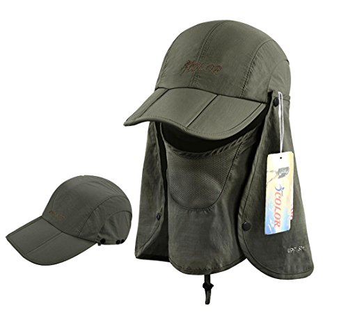 ICOLOR Folding Sun Cap,360° Protection Flap Hats,Adult UPF 50+ Flap Cap,Sun Hats,Removable Neck & Face Flap Cover for Baseball,Backpacking,Hiking,Fishing,Garden,Hunting Outdoor Activities