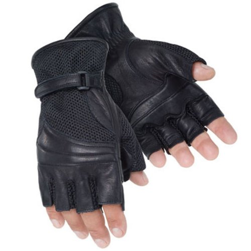 Tour Master Gel Cruiser 2 Fingerless Men's Leather/Textile Cruiser Motorcycle Gloves - Black / Small
