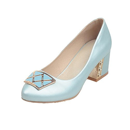 AllhqFashion Womens Kitten-Heels Soft Material Solid Pull-on Pointed Closed Toe Pumps-Shoes Skyblue dI60LTEX