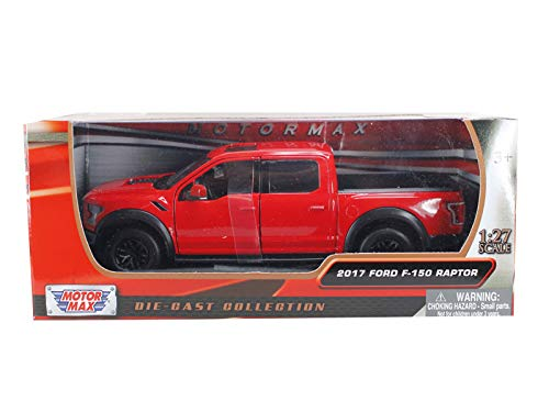 2017 Ford F-150 Raptor Pickup Truck Red with Black Wheels 1/27 Diecast Model Car by Motormax 79344r