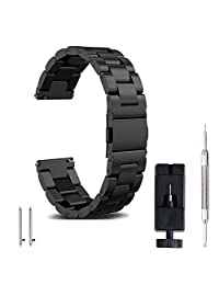 Watch Band watch strap 22mm 20mm 18mm, FashionAids Stainless Steel Band Strap Metal Replacement Band Bracelet Strap + Tools + Pins for Men's Women's Watch, Black 20mm