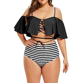 Amazon.com: Hotvivid Women Ruffle High Waisted Swimwear