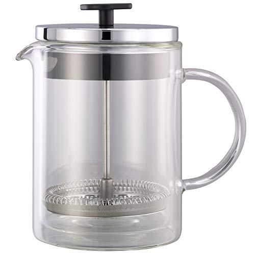 (Service Ideas T499SR Double Wall Coffee Press, Glass, Chrome, 20 oz.)