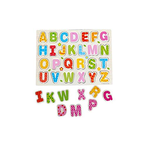 Educational Wood Alphabet Puzzle, A Set 26pcs Montessori English Letters Jigsaw Toy Board Games Gifts for Toddlers Kindergarten Preschools Education (Colorful)