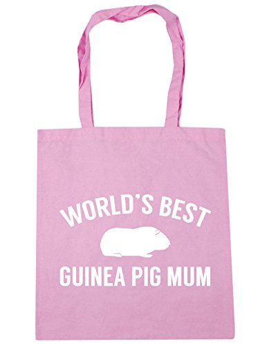 HippoWarehouse World's best guinea pig mum Tote Shopping Gym Beach Bag 42cm x38cm, 10 litres Classic Pink