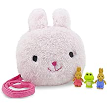 Daiso Japan Bunny Rabbit Plush Purse Pouch 7.5 x 6.25 Inches Pink with 3 Mini Puzzle Erasers Rabbits and Frog (Cute Animals Are Actually Erasers) - the Perfect 4 Piece Set for Girls