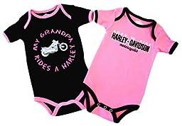 Harley-Davidson Girls Baby Twin Pack Creeper My Grandpa Rides a Harley Pink 18M