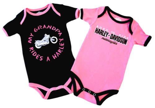 Harley-Davidson Girls Baby Twin Pack Creeper My Grandpa Rides a Harley Pink 18M