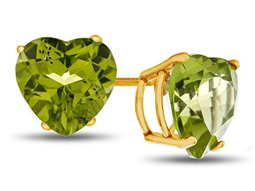Finejewelers 7x7mm Heart Shaped Peridot Post-With-Friction-Back Stud Earrings 10 kt Yellow Gold