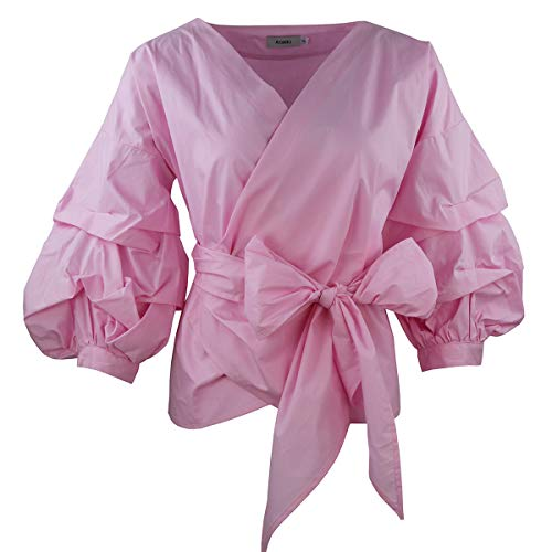 - AOMEI Pink Color Women Spring Summer Blouses with Puff Sleeve Sashes Shirts Tops Size XS