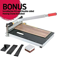 Heavy duty, aluminum and steel framework, with solid ABS work surface. Handle can be extended for additional leverage and easy cutting. Replaceable blade can be re-sharpened with included sharpening Stone.
