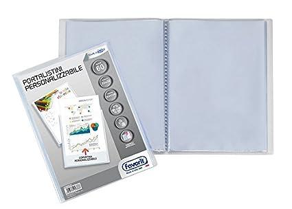 Favorit 100460323 Portalistino Personalizzabile con 6 Buste Formato Interno 22X30 cm, Copertina con Tasca, Trasparente Hamelin Brands