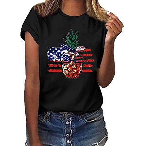 〓COOlCCI〓Summer Woman T Shirt Street Style Pineapple Printed Short Sleeve T-Shirt Casual Loose Lady Tops Juniors Tees Black