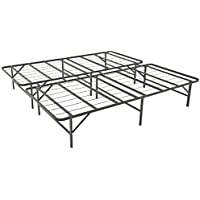 Leisuit Platform Bed Frame Base - Black Finish Bedroom Furniture Smartbase Mattress Foundation with Storage | No Box Spring | CalKing