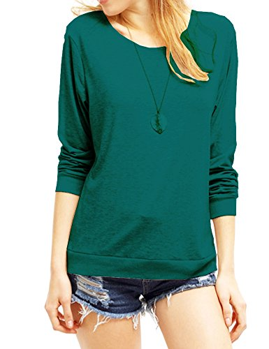Haola Women's Long Sleeve Tops Round Neck Casual Teen Girls Tees Loose T Shirts L Green -