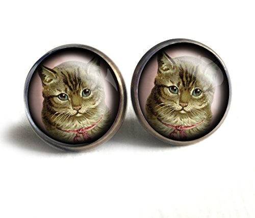Victorian Tabby Cat Stud Earrings