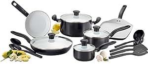 T-fal C921SG Initiatives Nonstick Ceramic Coating PTFE PFOA and Cadmium Free Scratch Resistant Dishwasher Safe Oven Safe Cookware Set, 16-Piece, Black