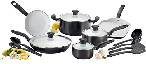 T-fal C921SG Initiatives Nonstick Ceramic Coating PTFE PFOA and Cadmium Free Scratch Resistant Dishwasher Safe Oven Safe Cookware Set, 16-Piece, Black (Dishwasher Safe Ceramic)