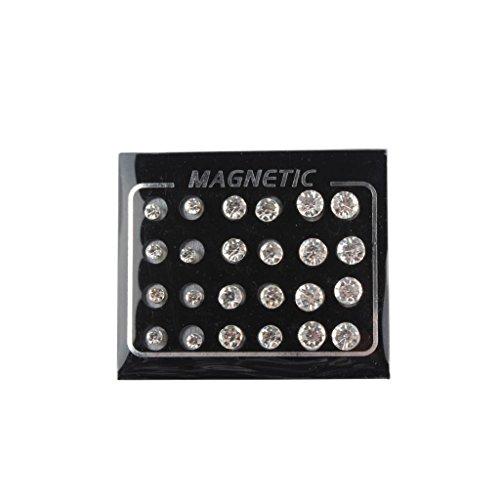 MonkeyJack 12 Pair Silver Alloy Diamond Magnetic Stud Earrings for Unisex No Hole Piercing 3Sizes 4MM,6MM,7MM