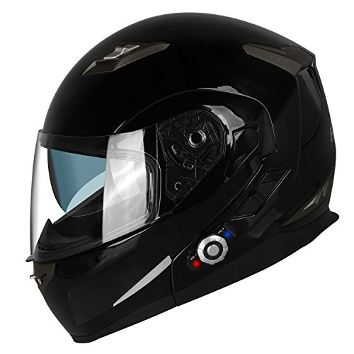 FreedConn Bluetooth Motorcycle Helmets Speakers Integrated Modular Flip up Dual Visors Full Face Built-in Bluetooth Mp3 Intercom headset Communication Range 501M (M,Gloss Black)