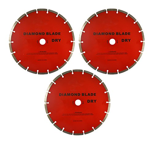 7'' Diamond Dry Saw Blade for Cutting Sone, Brick, Other Masonry Cuts (Set of 3) by EZ Travel Collection