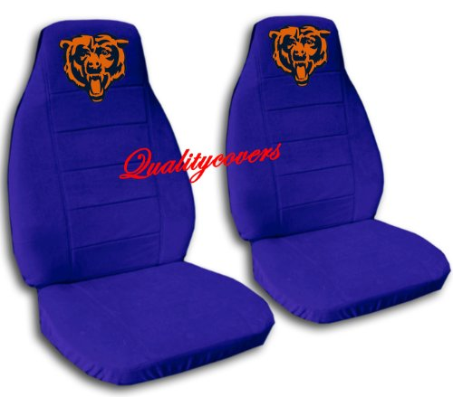 2 Dark Blue Chicago seat covers for a 2007 to 2012 Chevrolet Silverado. Side airbag friendly. by Designcovers (Image #1)
