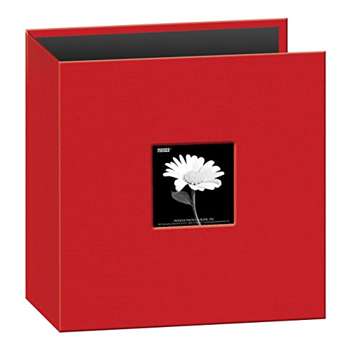 Pioneer 8 1/2 Inch by 11 Inch 3-Ring Fabric Frame Cover Memory Binder, Apple Red