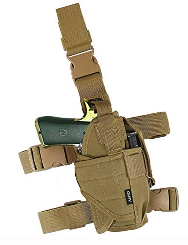 GHFY Molle Tactical Pistol Thigh Gun Holster, Drop Leg Holster, Right Hand Adjustable (Brown)