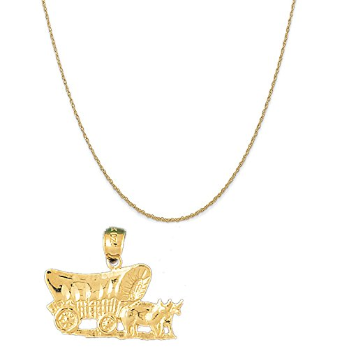 - 14k Yellow Gold Horse and Wagon Pendant on a 14K Yellow Gold Rope Chain Necklace, 18