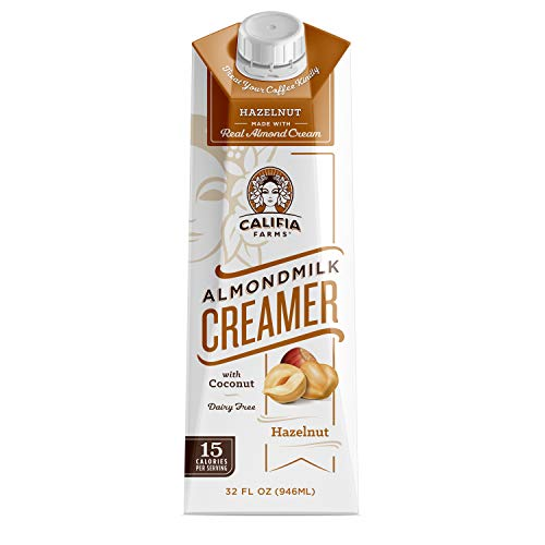 Califia Farms Hazelnut Almondmilk Coffee Creamer with Coconut Cream, 32 Oz | Dairy Free | Plant Based | Nut Milk | Vegan | Non-GMO