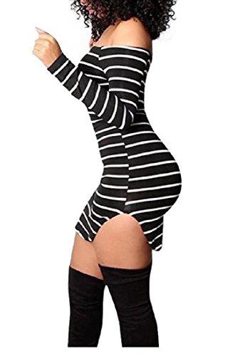 Abetteric Women's Slim Fit Long Sleeve Off Shoulder Striped Bodycon Dress