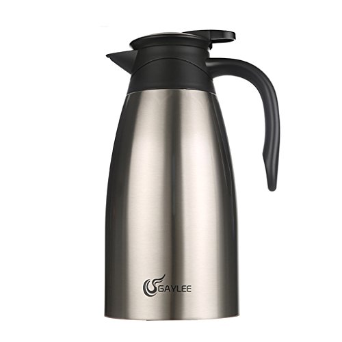 (Insulating Jug Stainless Steel Chrome 2 L Flask For Tea Or Coffee Twist Closure Keeps Drinks Warm Or Cold 24 H 1329cm (Black) (color : Brown) )