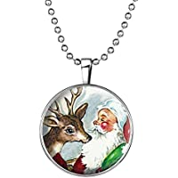 Christmas Deer Santa Claus Glow in the Dark Xmas Necklace Pendant Jewelry Gift