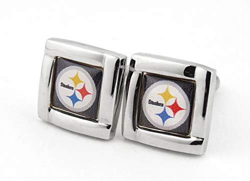 aminco NFL Pittsburgh Steelers Logo Square Cufflinks with Gift Box Set, One Size, Silver