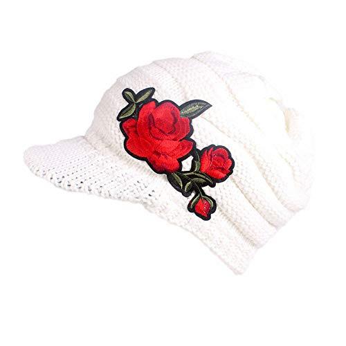 URIBAKE Women's Winter Wool Knitting Hat Berets Turban Brim Crochet Ladies' Hat Cap Pile Cap Warm -