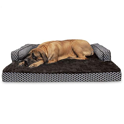 (Furhaven Pet Dog Bed | Orthopedic Plush Faux Fur & Décor Comfy Couch Sofa-Style Living Room Couch Pet Bed for Dogs & Cats, Diamond Brown, Jumbo Plus)