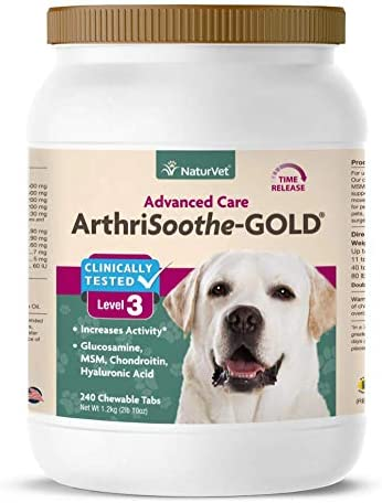 NaturVet Clinically Tested ArthriSoothe-GOLD Level 3 Advanced Joint Care for Dogs and Cats, 240 ct Time Release, ChewableTablets, Made in USA