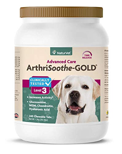 NaturVet - ArthriSoothe-Gold -Level 3 Advanced Joint Care-Supports Connective Tissue, Cartilage Health & Joint Movement - Enhanced with Glucosamine, MSM & More - Dogs & Cats - 240 Chewable Tablets