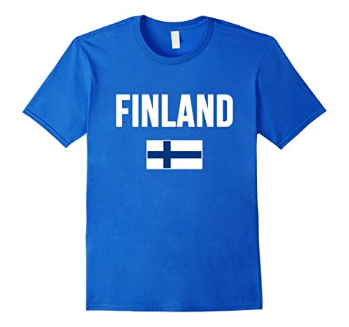 Mens Finland T-shirt Finnish Flag Medium Royal Blue Finland Flag T-shirt