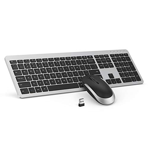 Wireless Keyboard and Mouse Combo - seenda Full Size Slim Thin Wireless Keyboard Mouse with On/Off Switch on Both Keyboard and Mouse - (Black and Silver) (Logistics Keyboard Ipad)