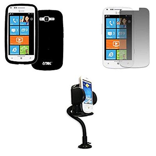 EMPIRE AT&T Samsung Focus 2 I667 Silicone Skin Case Tasche Hülle Cover (Schwarz) + Adjustable Auto Dashboard Berg + Invisible Displayschutzfolie Film