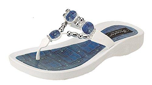 Grandco Denim Beaded Womens Thong Flip Flop Sandal White 10 -