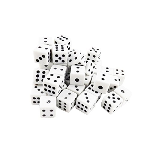 Adorox 100 Pack Opaque Square Dice Pips Dots Board Games Casino Poker Party Favors